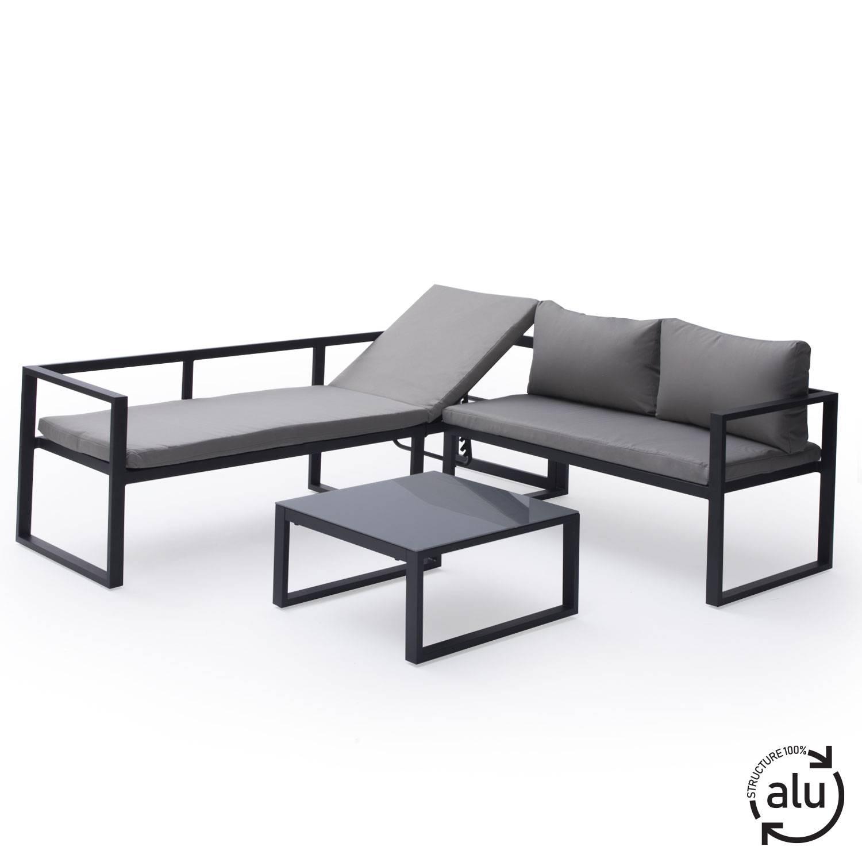 Salon de jardin bas aluminium anthracite et coussins gris 4 places