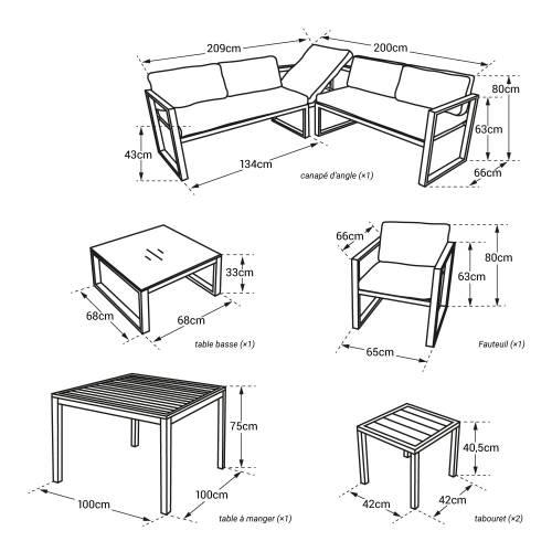 Salon de jardin modulable IBIZA en tissu gris 7 places - aluminum anthracite
