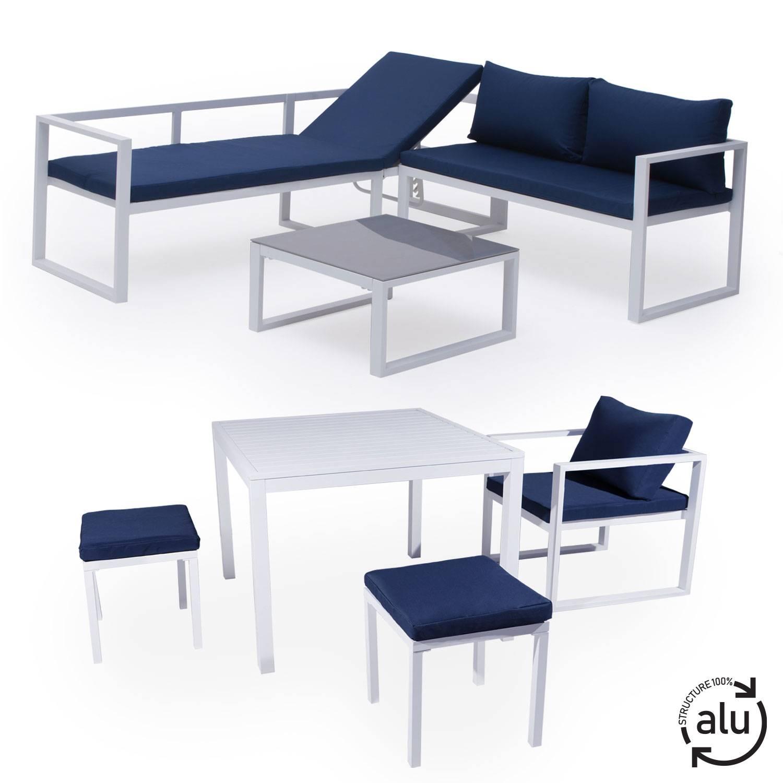Salon de jardin bas aluminium blanc et coussins bleu 7 places