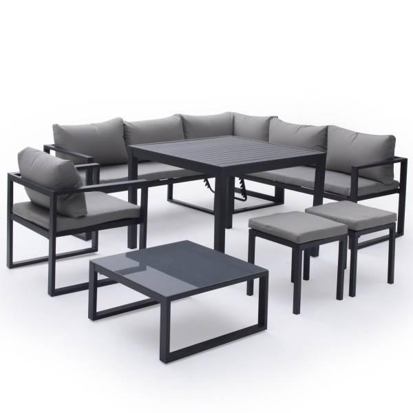 Salon de jardin bas aluminium anthracite et coussins gris 7 places