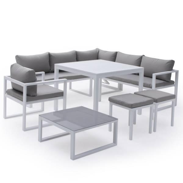 Salon de jardin bas aluminium blanc et tissu gris 7 places