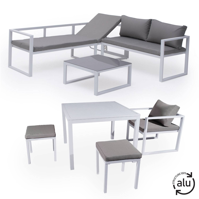 Salon de jardin bas aluminium blanc et coussins gris 7 places
