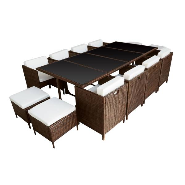 salon de jardin r sine tress e encastrable marron 12 personnes. Black Bedroom Furniture Sets. Home Design Ideas