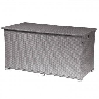 Coffre de rangement ALÉRIA XL en résine tressée gris brossé - intérieur écru