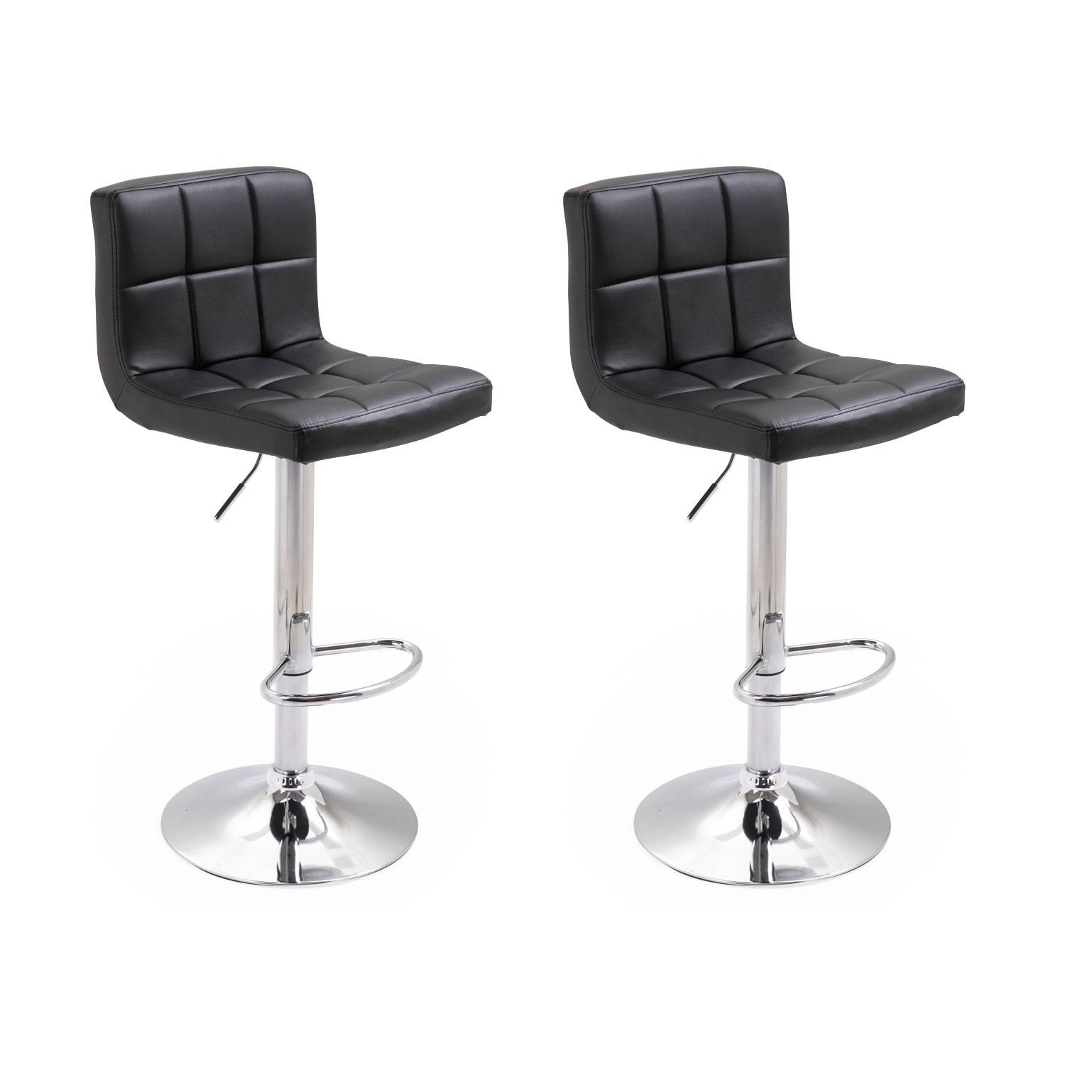 Lot de 2 tabourets de bar noir MIKE