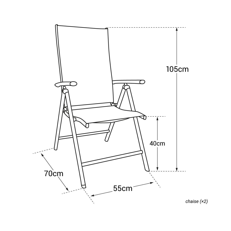 Lot de 2 chaises BORNÉO en textilène noir - structure grise