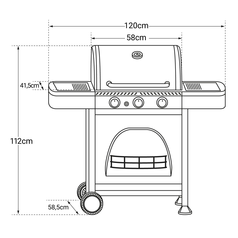 Barbecue au gaz DALLAS - 3 brûleurs avec thermomètre