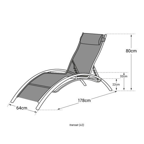 Transat en textilène GALAPAGOS - lot de 2 - textilène taupe/structure blanche