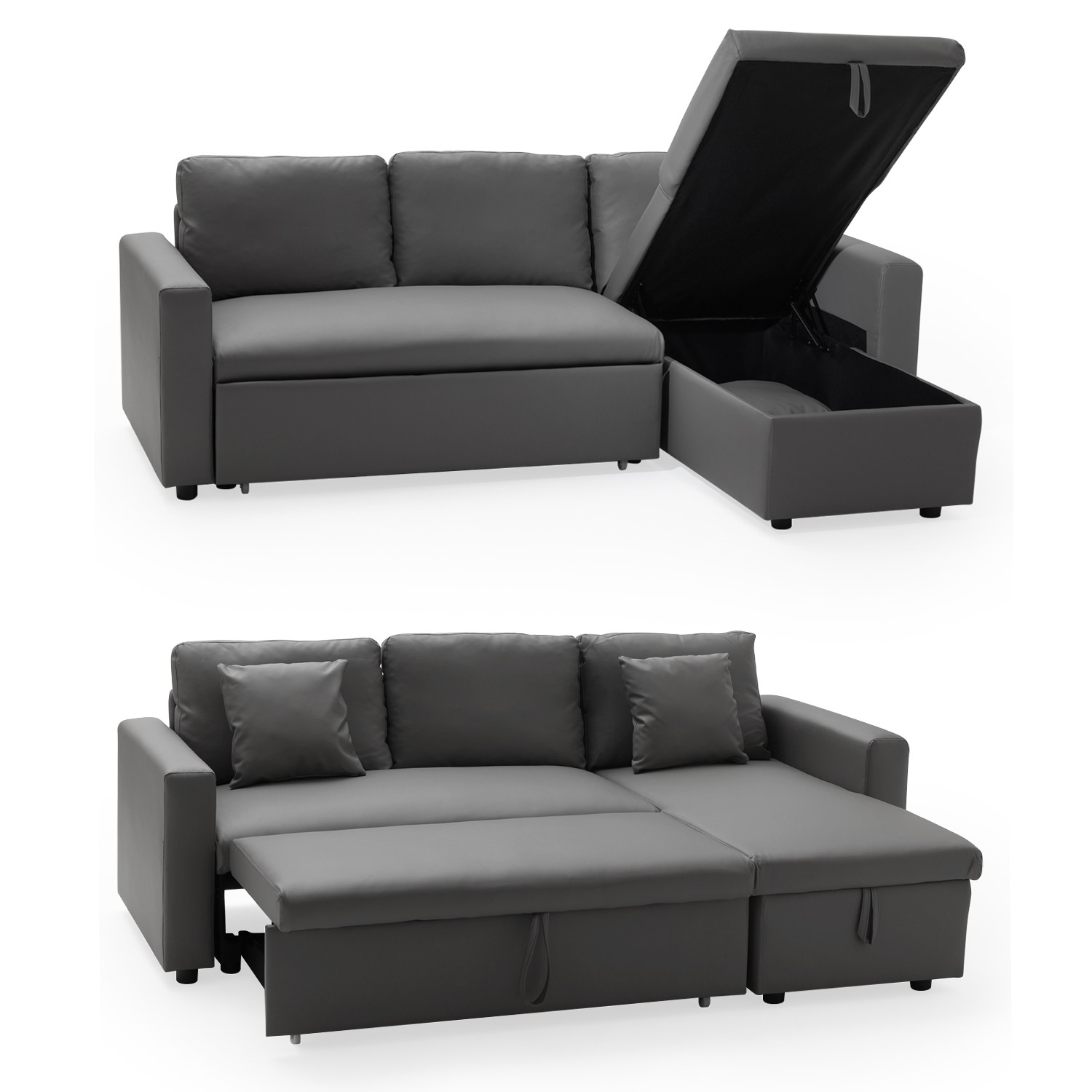 canap d 39 angle convertible 3 places simili cuir gris. Black Bedroom Furniture Sets. Home Design Ideas