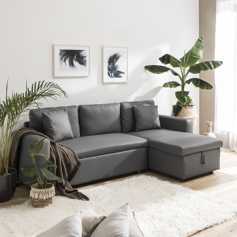 Changer La Couleur D Un Canapé En Cuir canapé d'angle convertible 3 places, simili-cuir gris