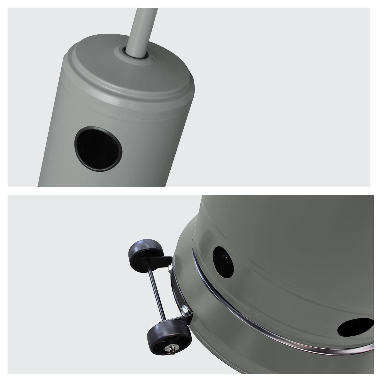 Parasol chauffant OSLO - chauffage d'extérieur gaz - acier gris + housse