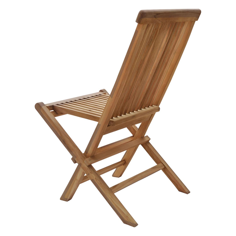 Lot de 4 chaises de jardin en teck LOMBOK