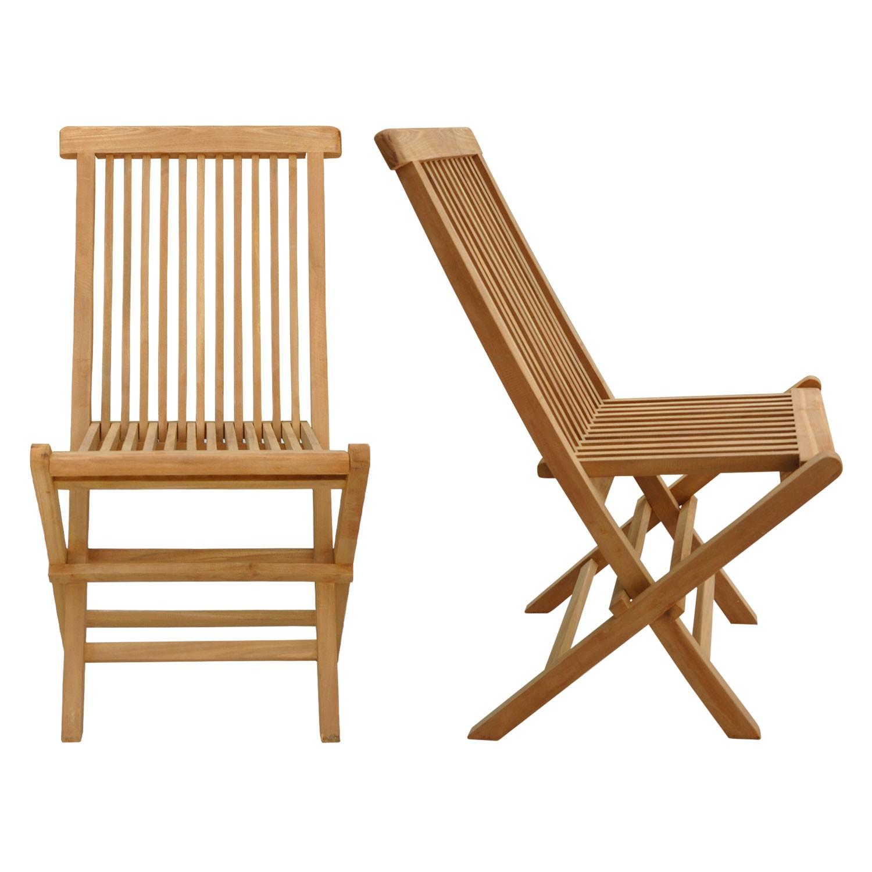 Lot de 8 chaises de jardin en teck LOMBOK