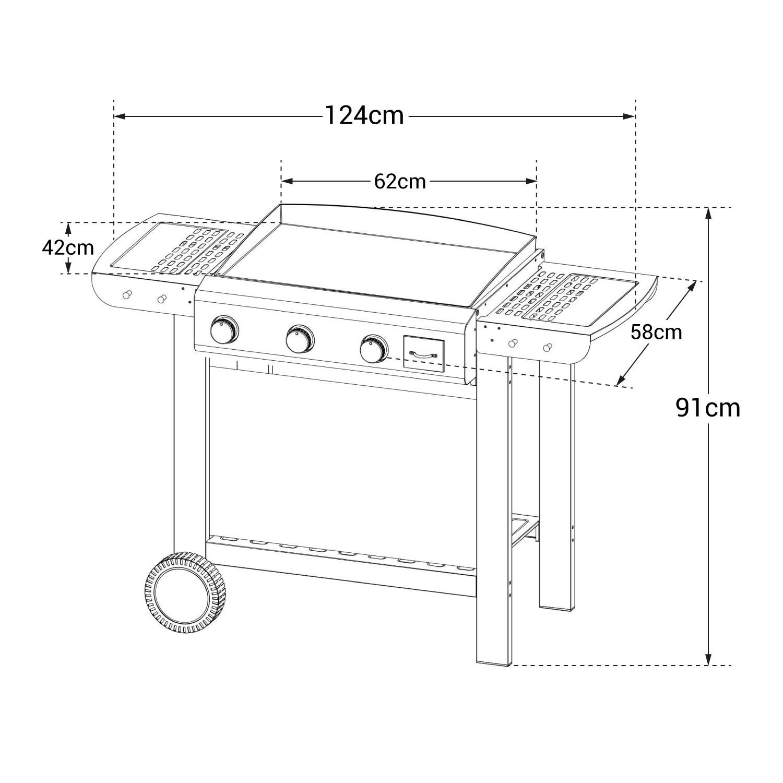 Cook'in Garden - Plancha au gaz en fonte émaillée sur chariot FINESTA 3 - 3 brûleurs 7,5kW