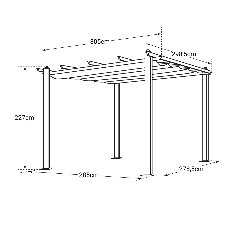 Pergola autoportante 3x3m CASSIS beige - structure aluminium