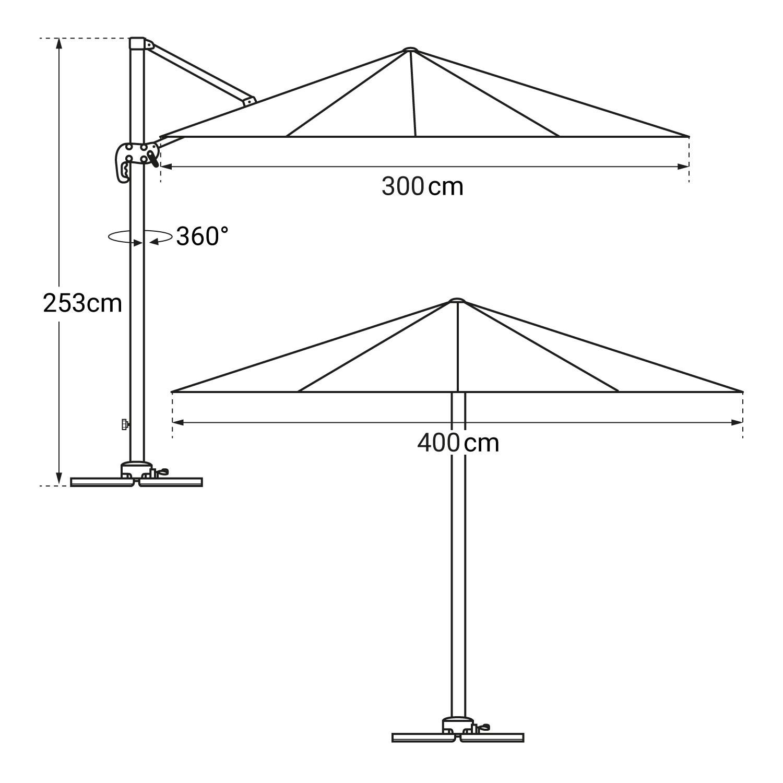 Parasol déporté MOLOKAI rectangulaire 3x4m gris + housse