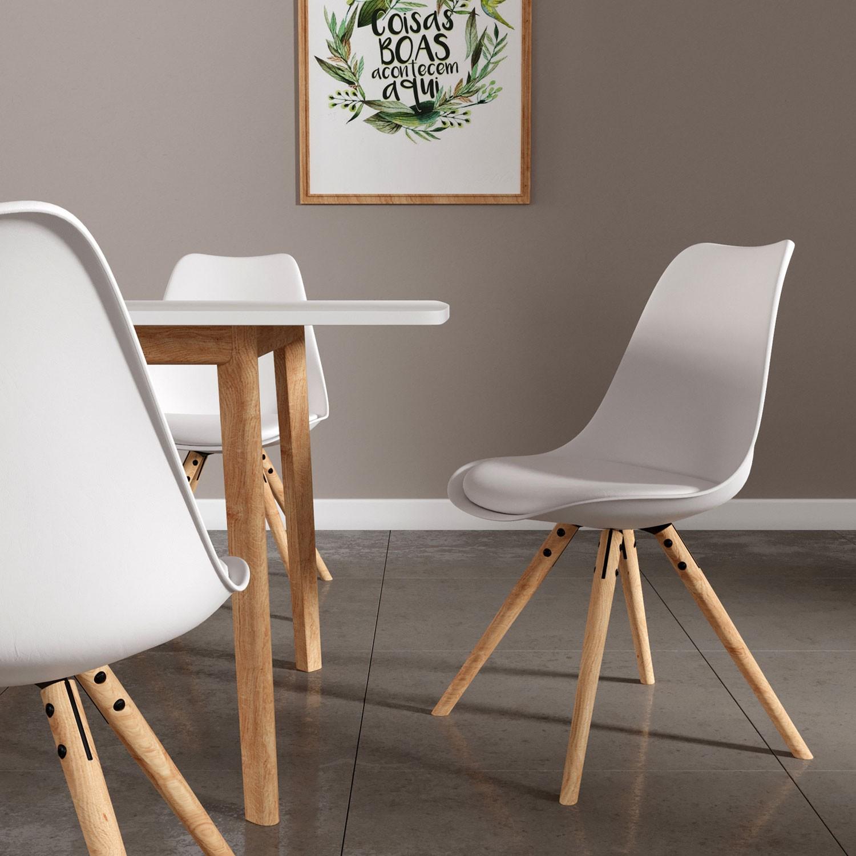 Lot de 4 chaises scandinaves ANITA blanches avec coussin