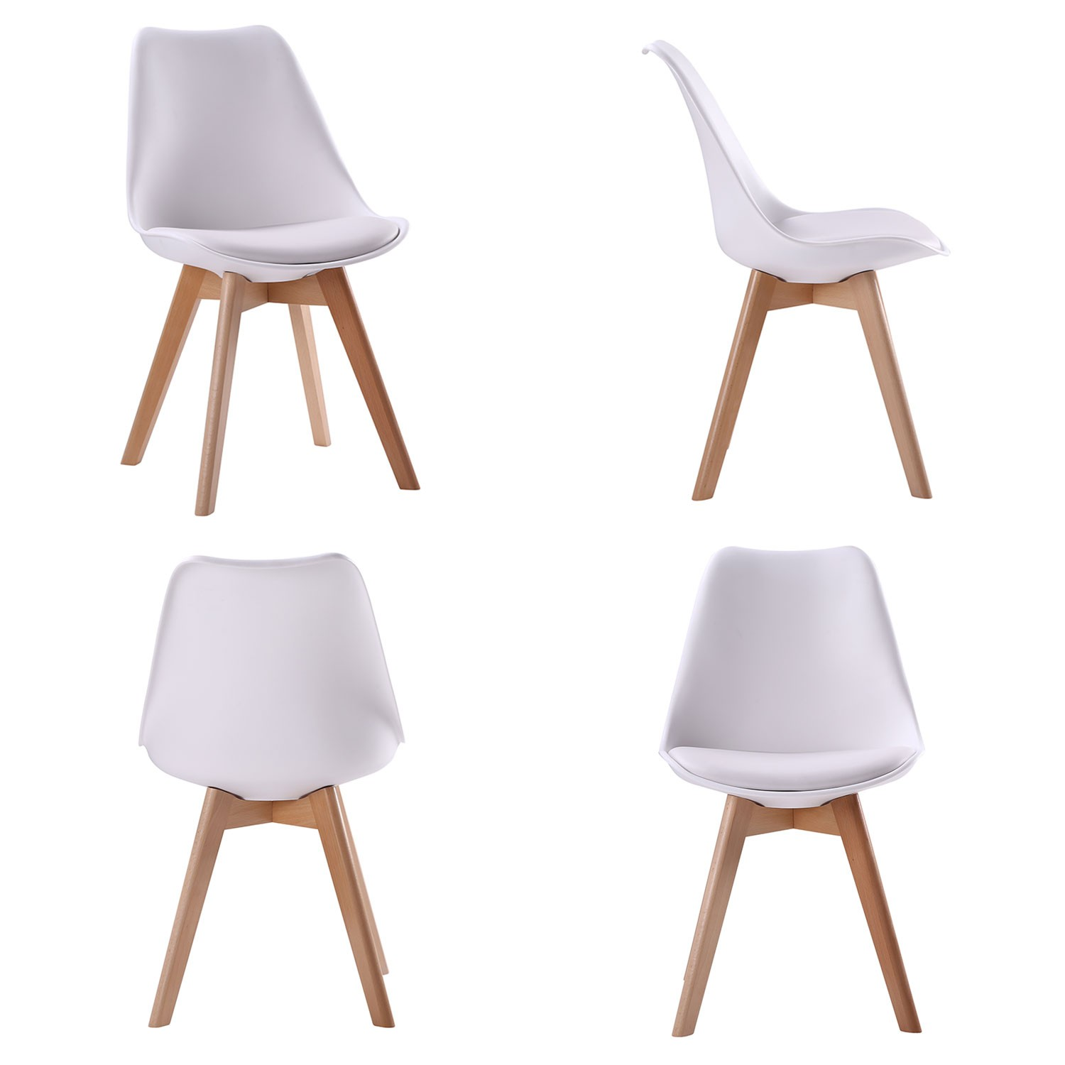 Ensemble table extensible et chaises scandinave blanc NORA