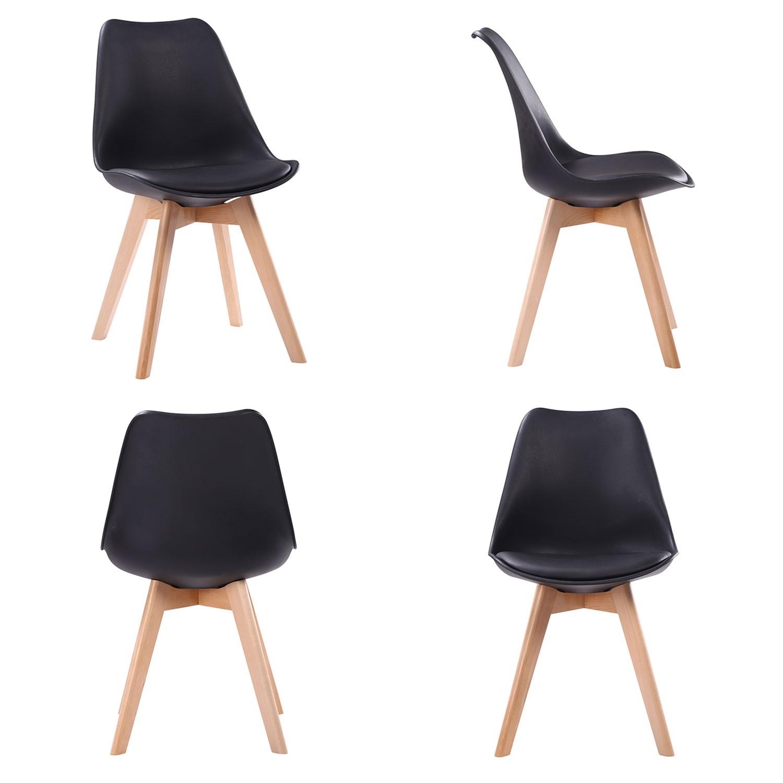 Ensemble table extensible et chaises scandinave noir NORA