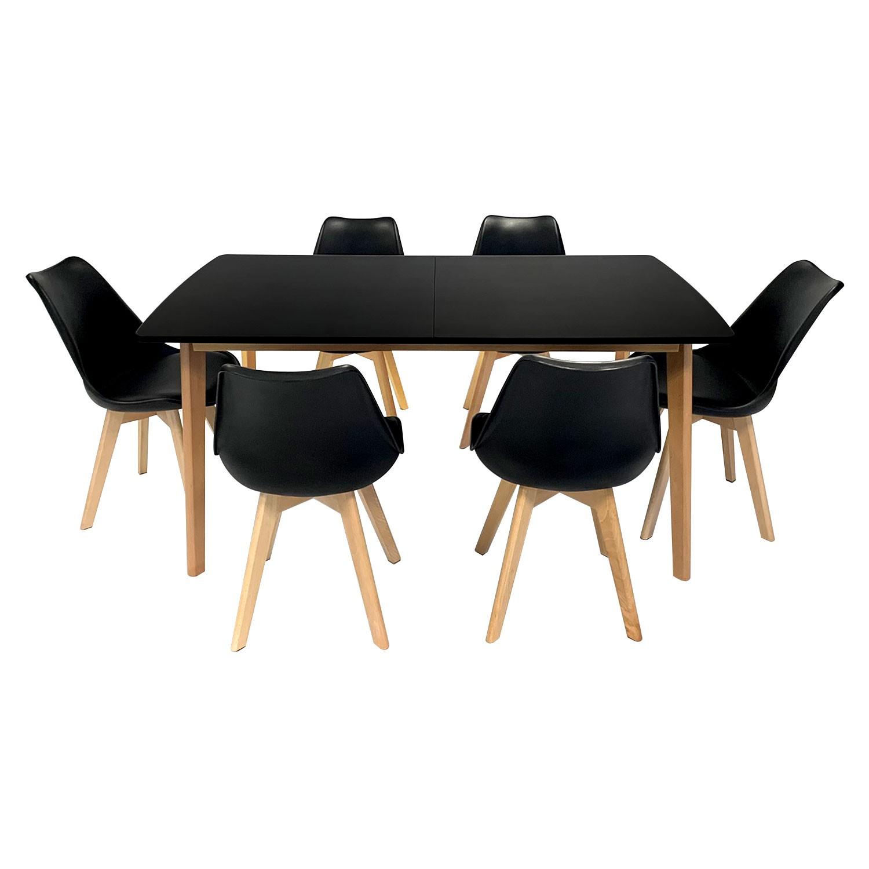 Ensemble table extensible 160/200cm et 6 chaises scandinave noir NORA