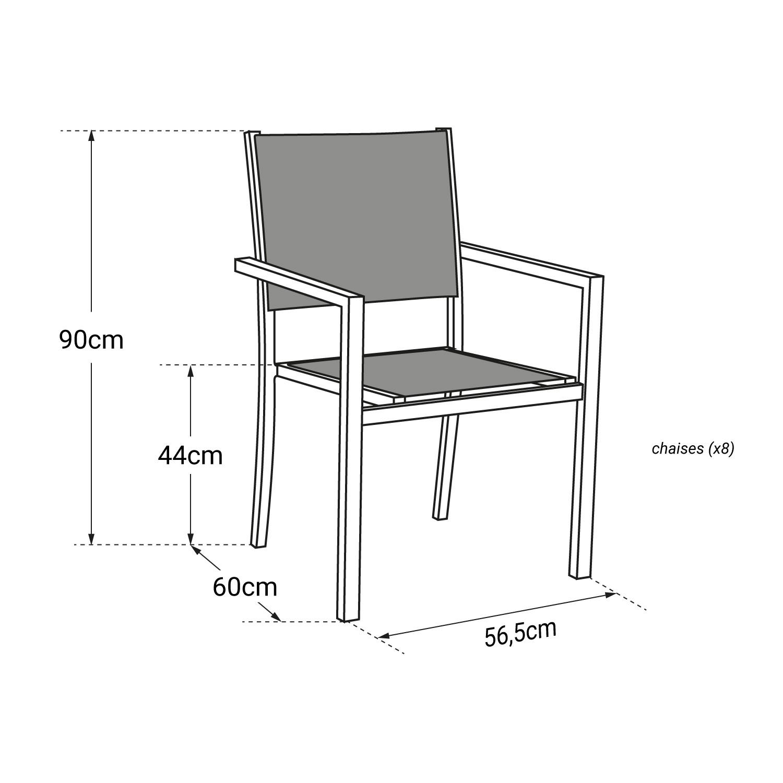 Lot de 8 chaises en textilène gris - aluminium blanc