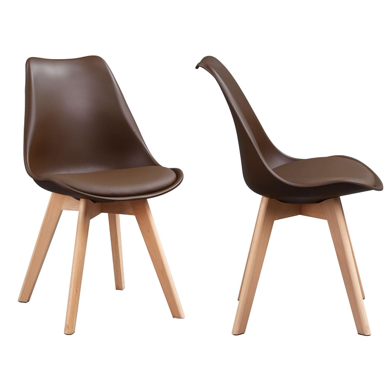 Lot de 4 chaises NORA café avec coussin