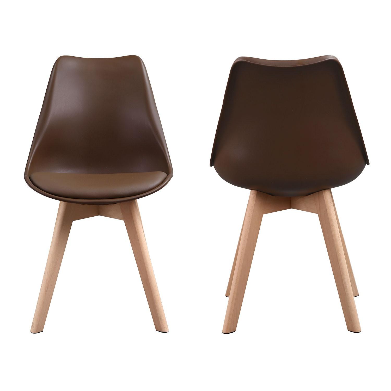 Lot de 2 chaises scandinaves NORA café avec coussin