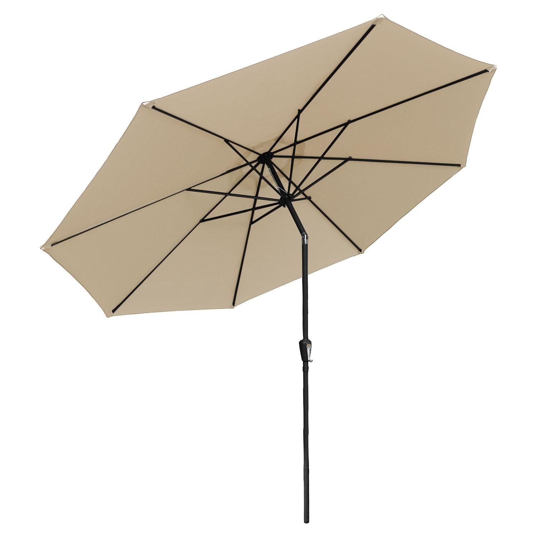 Parasol droit HAPUNA rond 3,30m de diamètre beige