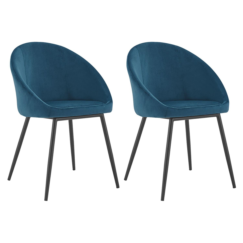 Lot de 2 chaises vintage en velours bleu DIANE