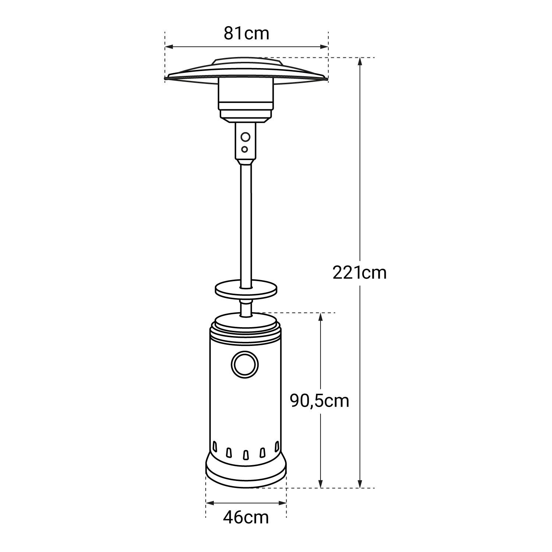 Parasol chauffant OSLO - chauffage d'éxterieur gaz - acier inox + housse et table