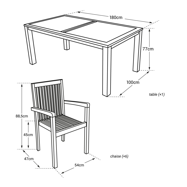 Salon de jardin en teck JAVA - table rectangulaire - 6 places