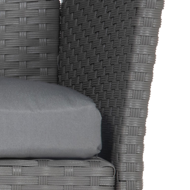Salon de jardin CORDOUE en résine tressée gris 4 places - coussins gris