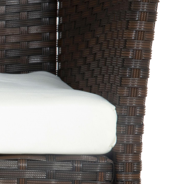 Salon de jardin CORDOUE en résine tressée marron 4 places - coussins crème