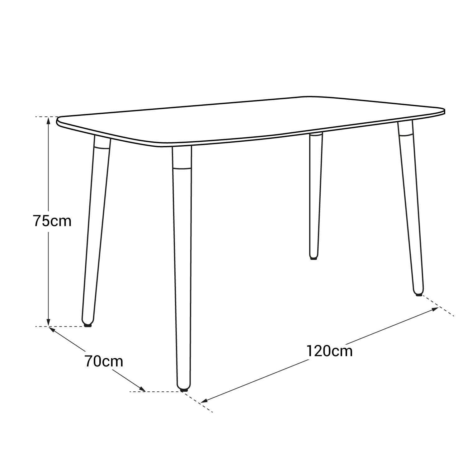 Table rectangulaire 120x70cm blanche PIA