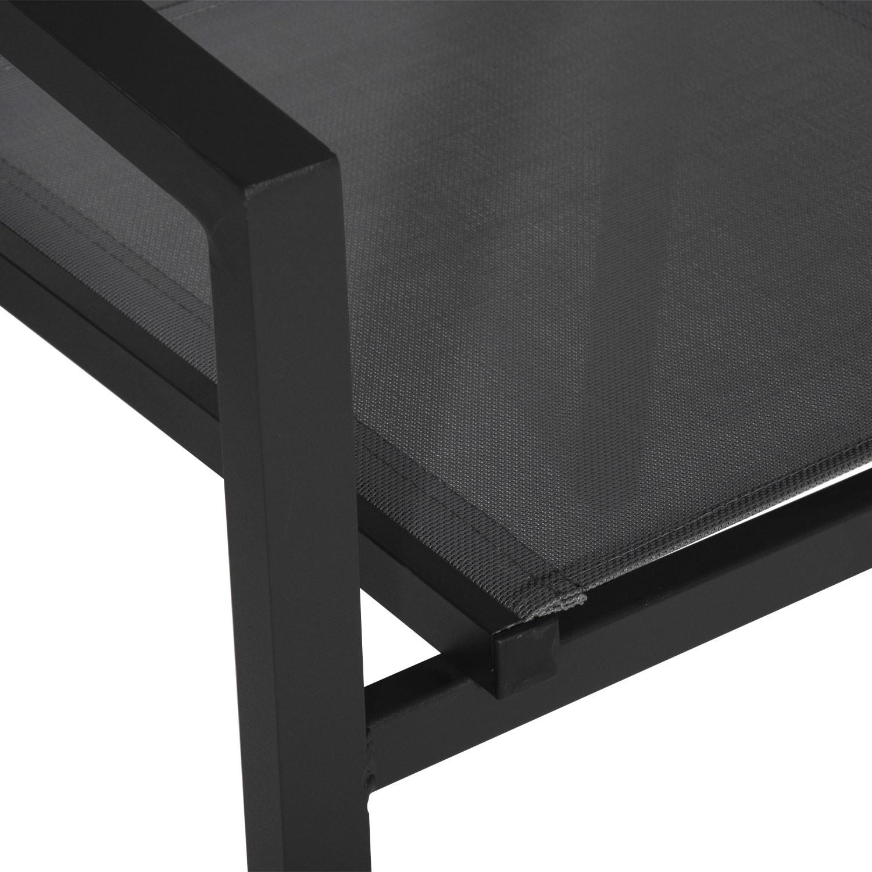 Lot de 4 chaises en aluminium anthracite - textilène gris