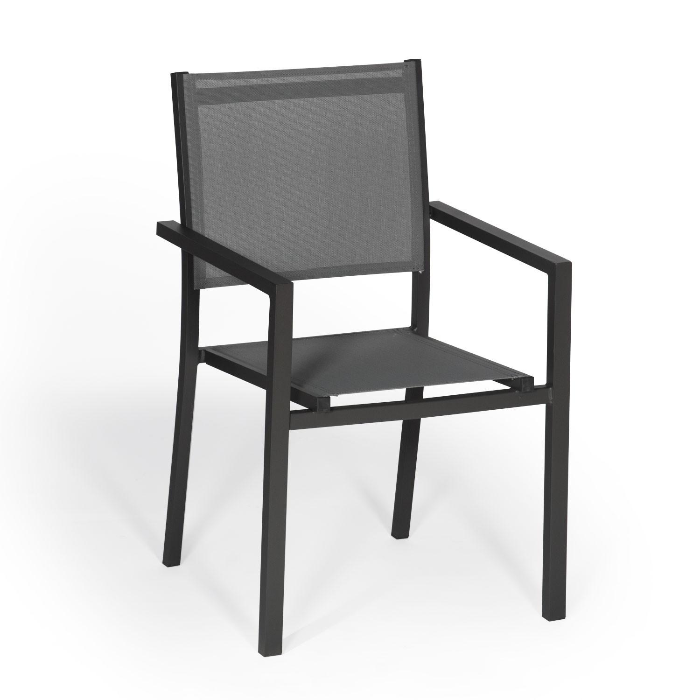 Lot de 6 chaises en aluminium anthracite - textilène gris