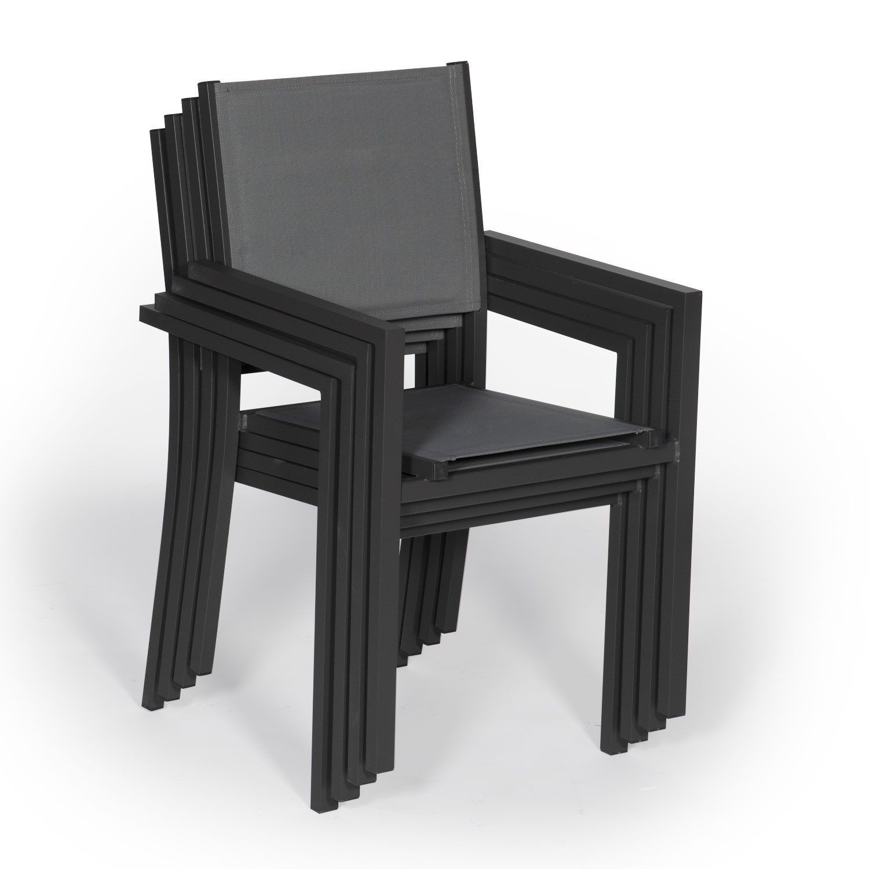 Lot de 8 chaises en aluminium anthracite - textilène gris