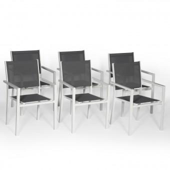 Lot de 6 chaises en aluminium blanc - textilène gris