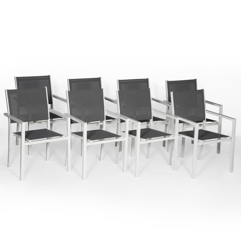 Lot de 8 chaises en aluminium blanc - textilène gris