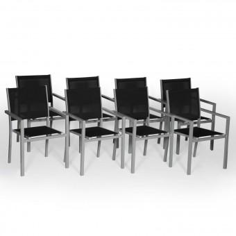 Lot de 8 chaises en aluminium gris - textilène noir