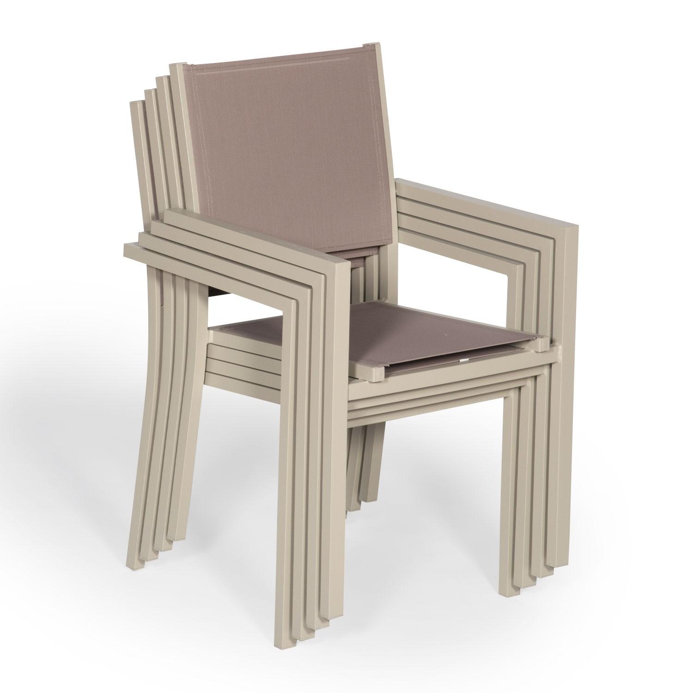 Lot de 4 chaises en aluminium taupe - textilène taupe