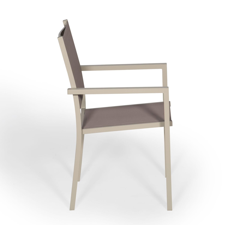 Lot de 6 chaises en aluminium taupe - textilène taupe