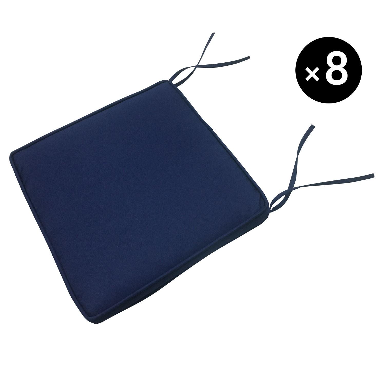 Lot de 8 coussins de chaise carré 40x40cm bleu