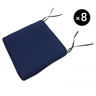 Lot de 8 coussins pour chaise - bleu 40 × 40cm