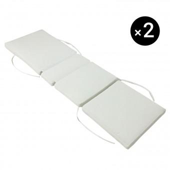 Lot de 2 coussins de bain de soleil - beige 200 × 60cm