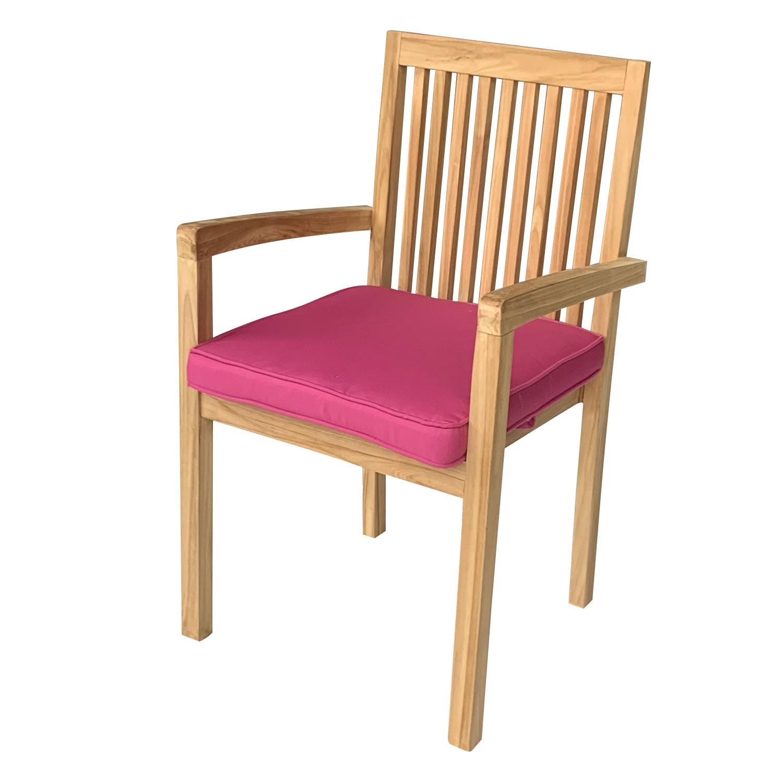 Lot de 8 coussins pour chaise carré 46x46cm fuchsia