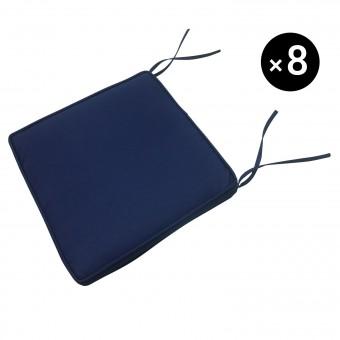 Lot de 8 coussins pour chaise - bleu 46 × 46cm