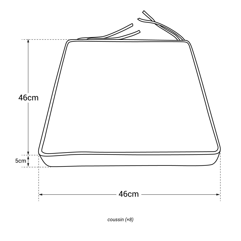 Lot de 8 coussins pour chaise carré 46x46cm anthracite
