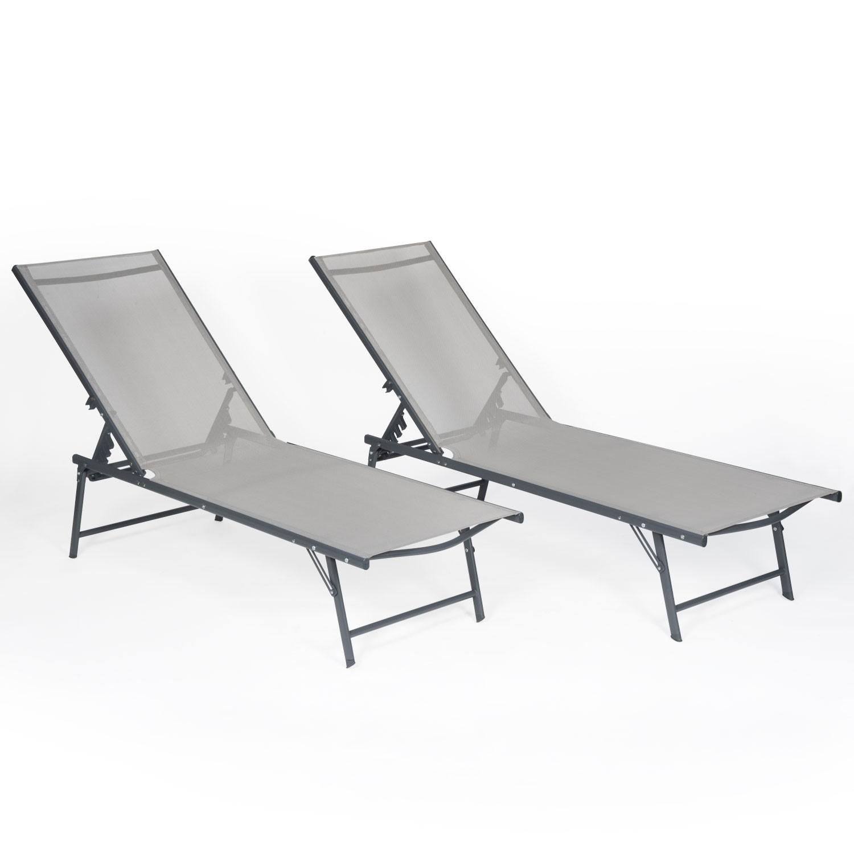 Lot de 2 bains de soleil pliants SICILIA en textilène gris - structure anthracite