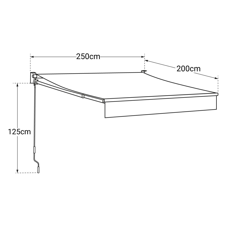 Store banne SAULE 2,5 × 2m - Toile beige et structure grise